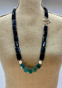 CHRYSOCOLLA, ONYX & PEARL NECKLACE -WANTED ONE OF A KIND