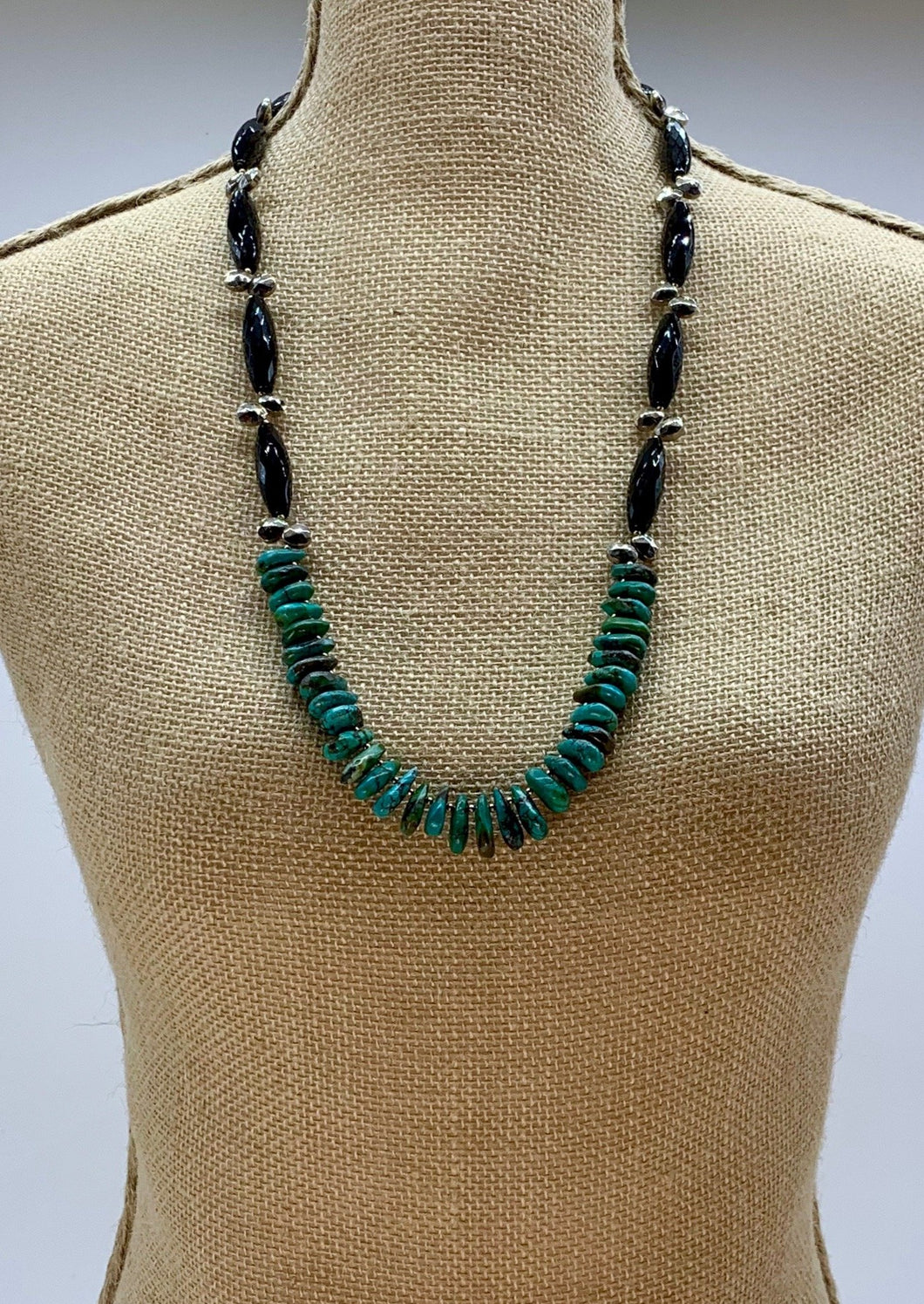 TURQUOISE, ONYX & SILVER PLATED PYRITE NECKLACE -WANTED ONE OF A KIND