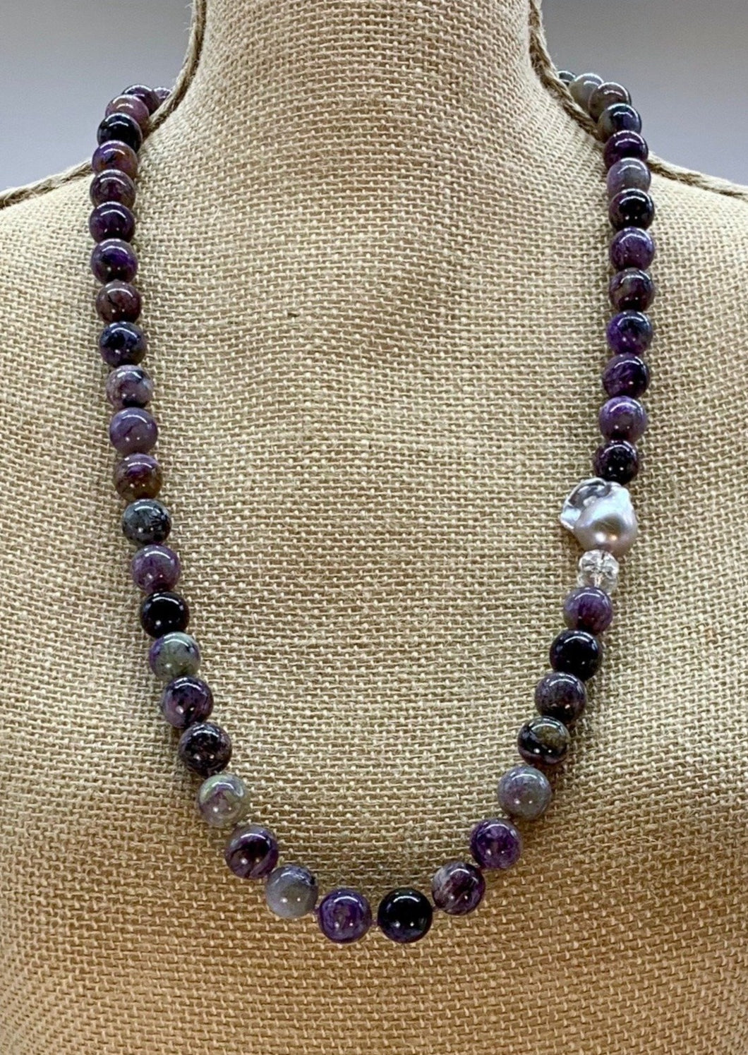 CHAROITE, QUARTZ & BAROQUE PEARL NECKLACE -WANTED ONE OF A KIND
