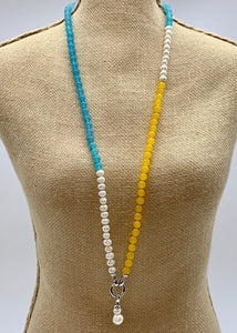 YARA NECKLACE  - 105 - TEAL/YELLOW