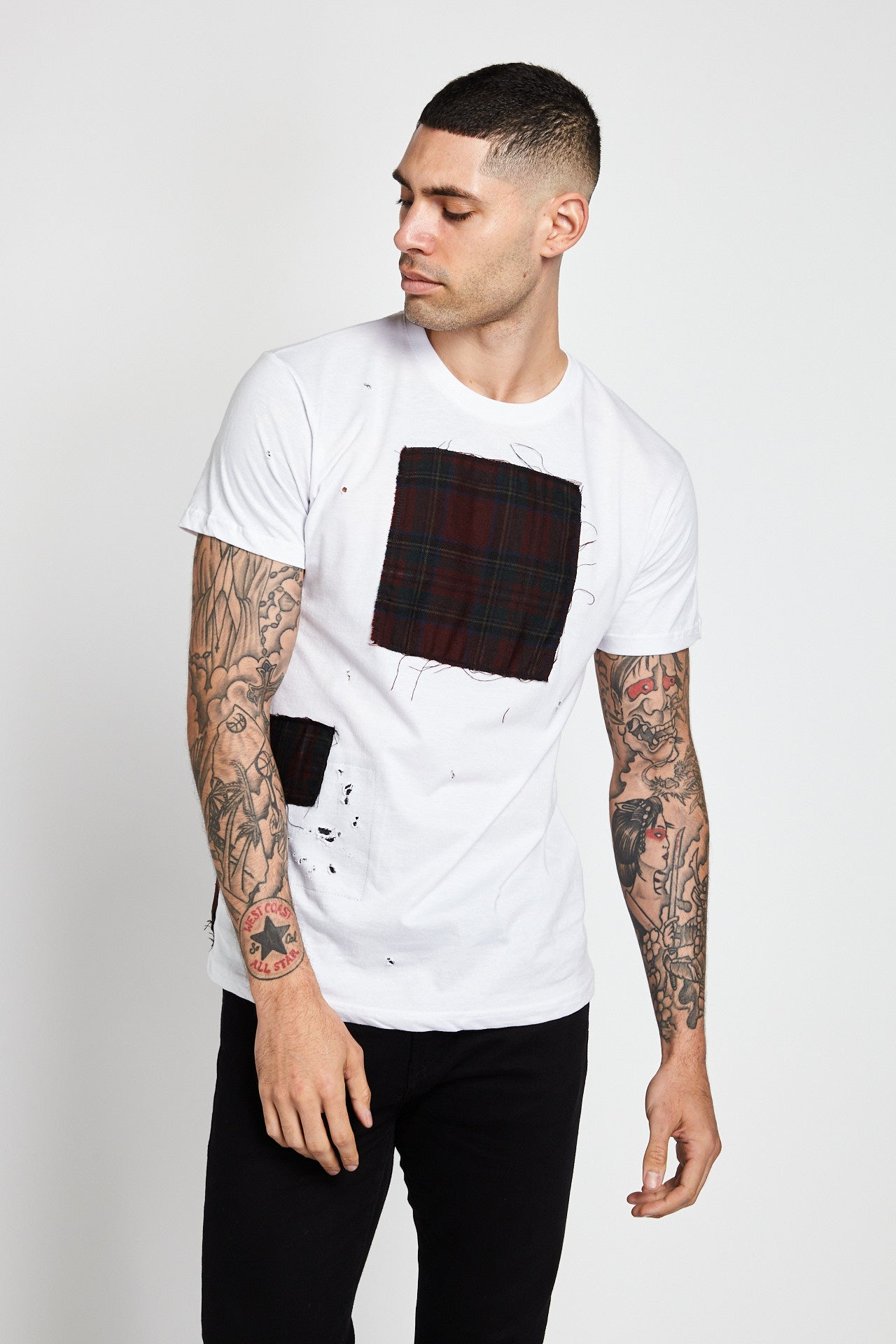 Patchwork Series Plaid White T-Shirt-SHIRTS-Mundane Official-M-Mundane Official