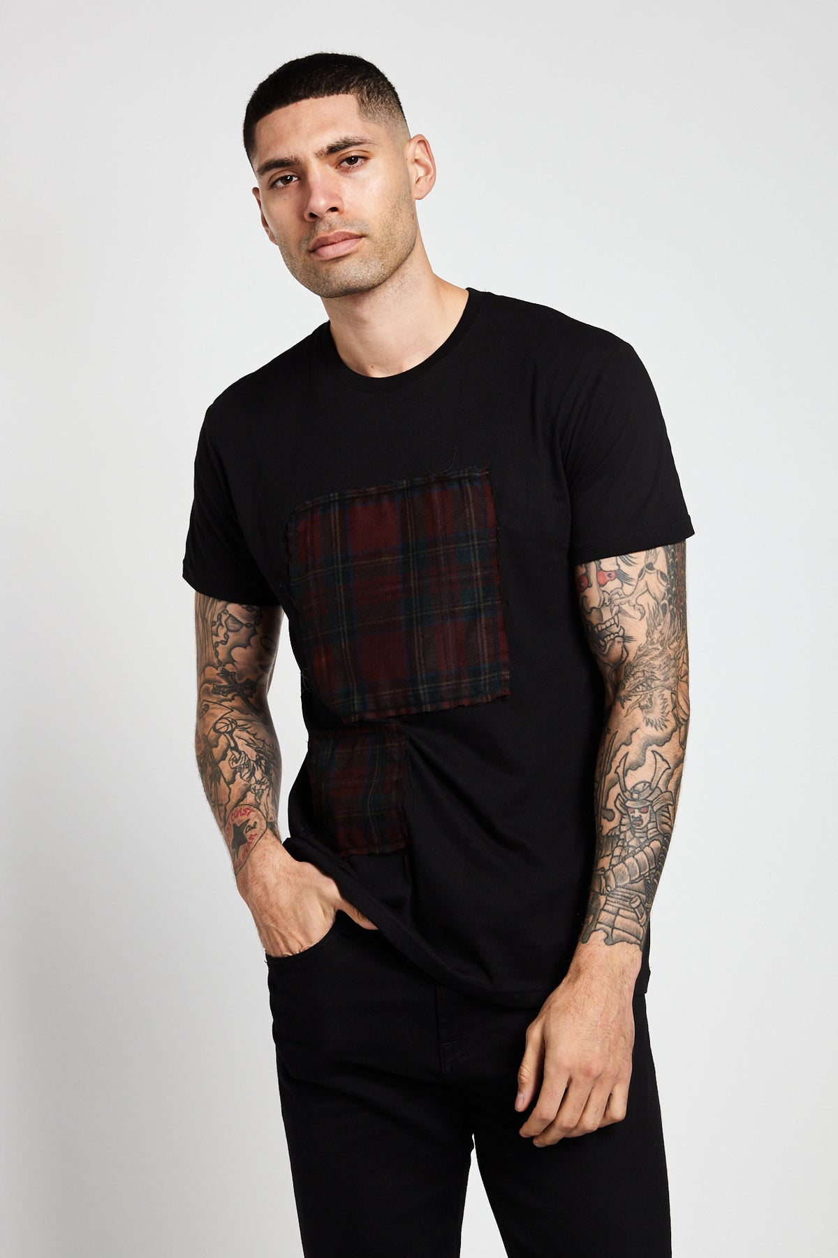 Patchwork Series Plaid Black T-shirt-SHIRTS-Mundane Official-M-Mundane Official