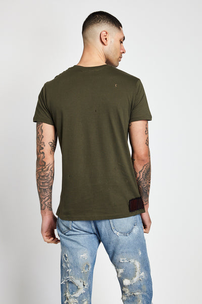 PATCHWORK SERIES PLAID T-SHIRTS IN GREEN