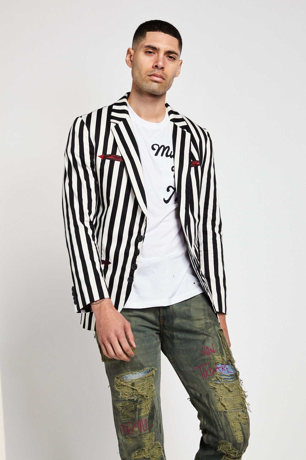 BLACK & WHITE STRIPED BLAZER JACKET-JACKETS-Mundane Official-XL-Mundane Official