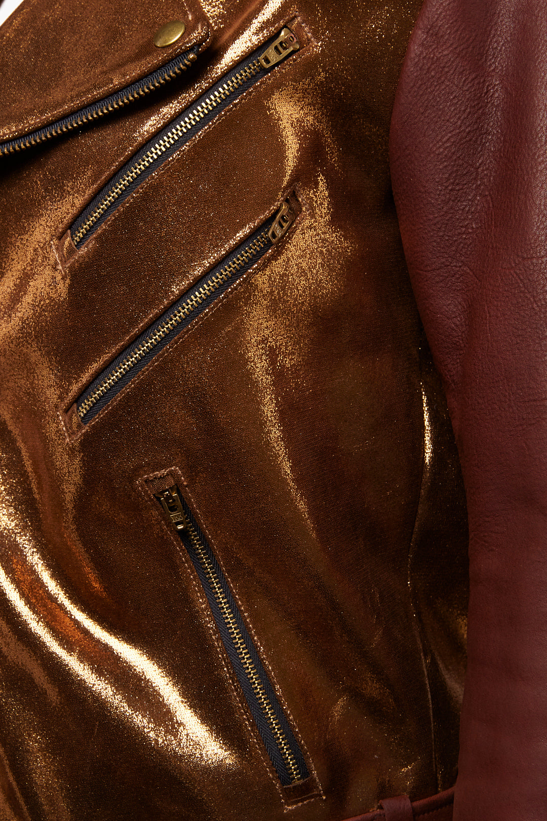 DOUBLE ZIPPER LEATHER JACKETS IN HONEYSUCKLE