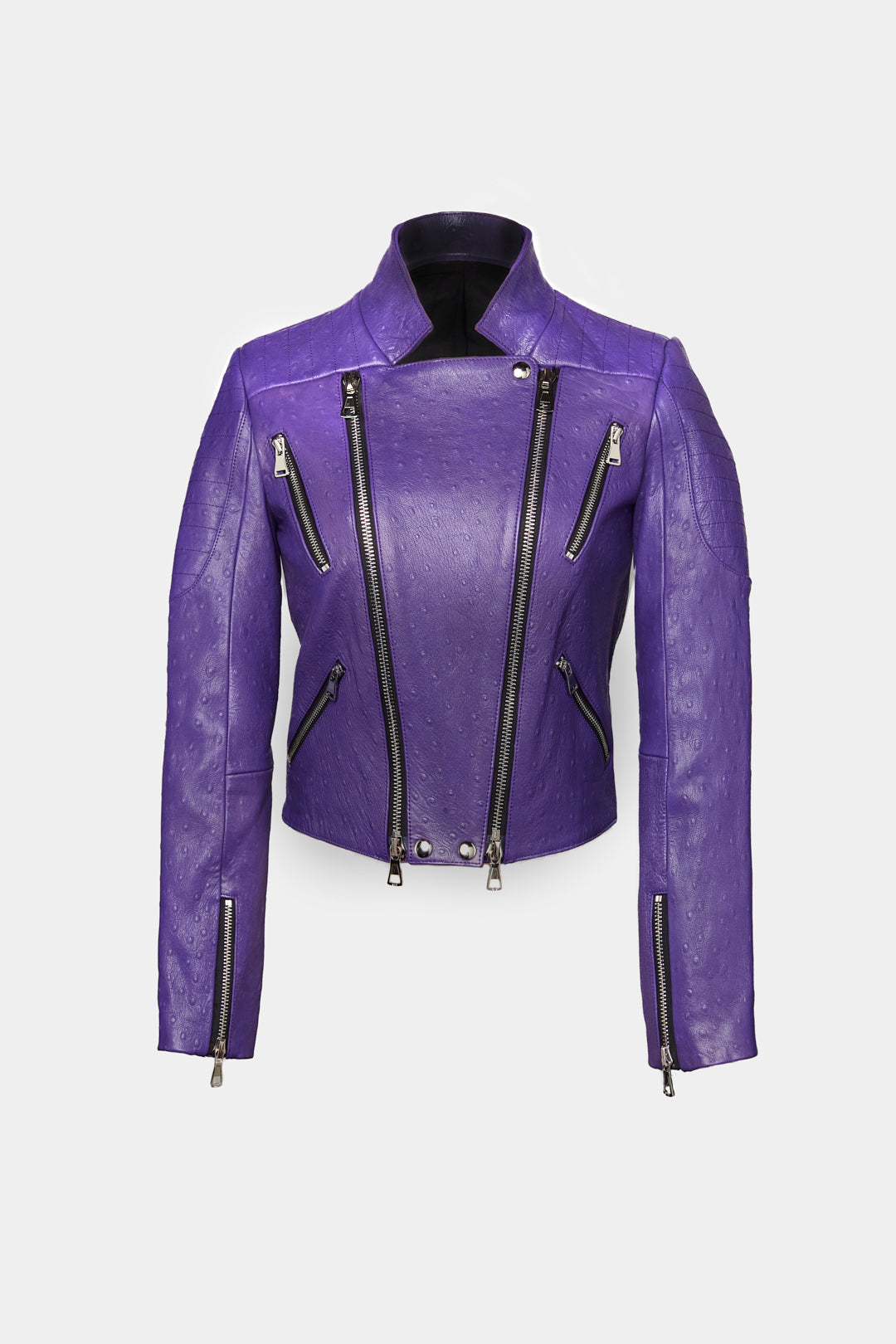 DOUBLE ZIPPER MOTO LEATHER JACKETS IN VIOLA