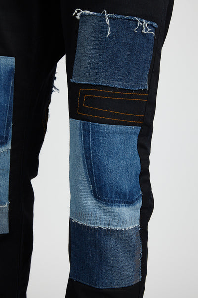 G STAR RAW RECONSTRUCTED PATCHWORK DENIM BLACK JEANS (Size 33)-BOTTOMS-Mundane Official-Mundane Official