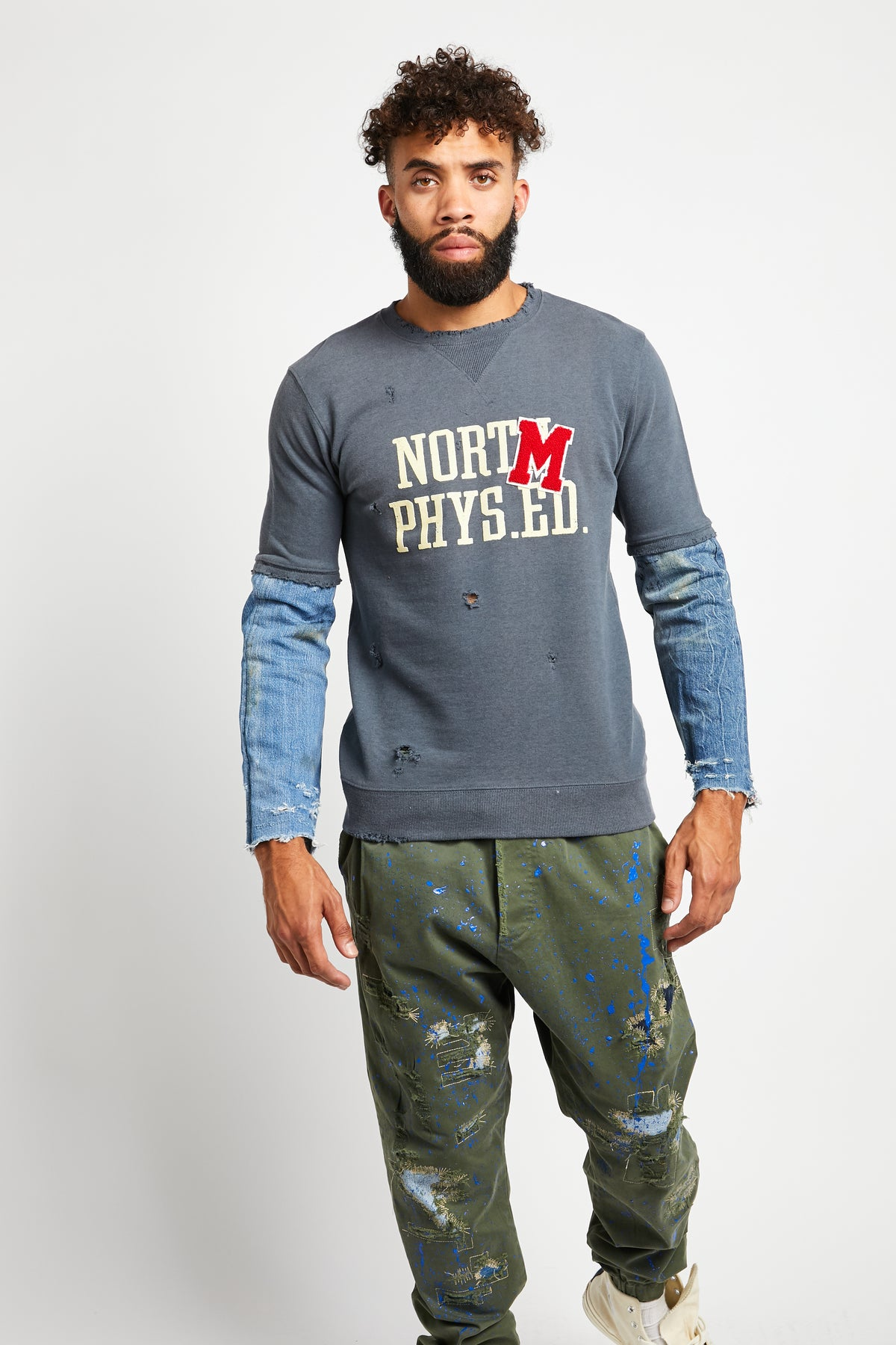 UNIVERSITY  BLUE LONG SLEEVE SWEATSHIRT