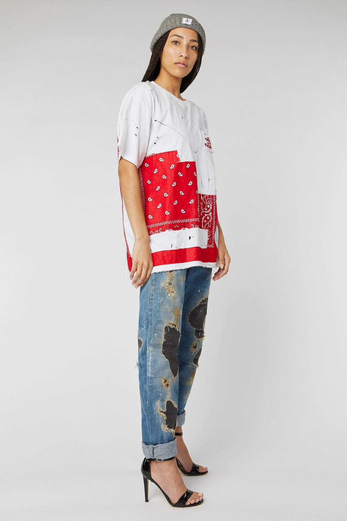 OVERSIZED BANDANA PATCHWORK COTTON T-SHIRTS IN L/XL WHITE