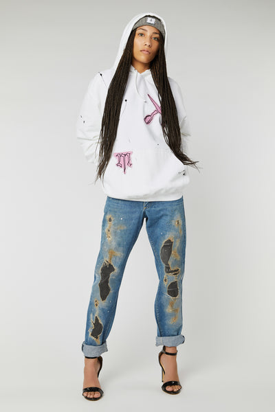 SCISSORS EMBROIDERED COTTON HOODIES IN M/L PINK