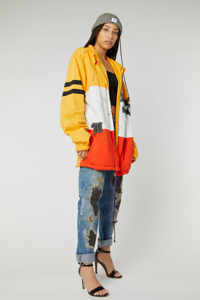 OVERSIZED PATCHWORK COLOR BLOCK VARSITY JACKETS
