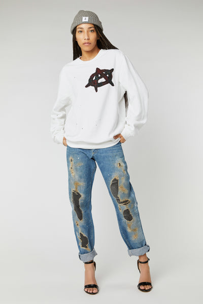 ANARCHY PATCHWORK COTTON SWEATSHIRTS IN WHITE