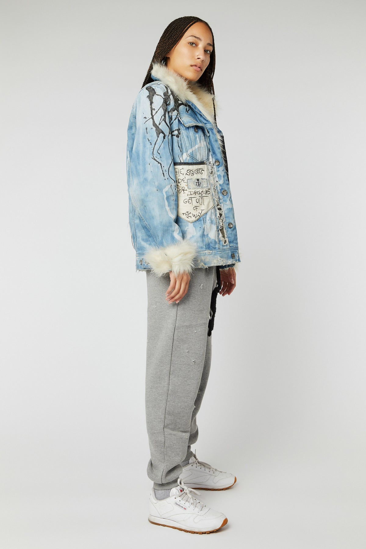 PATCHWORK BLEACHED FUR DENIM JACKETS (MADE TO ORDER ONLY)