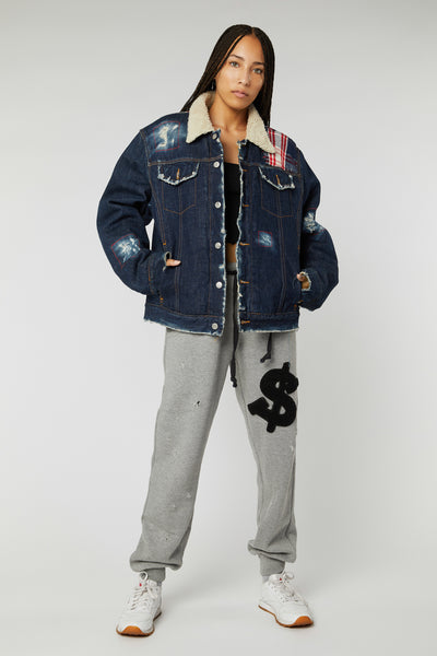 FLANNEL PATCHWORK BLUE DENIM FUR JACKETS (MADE TO ORDER ONLY)