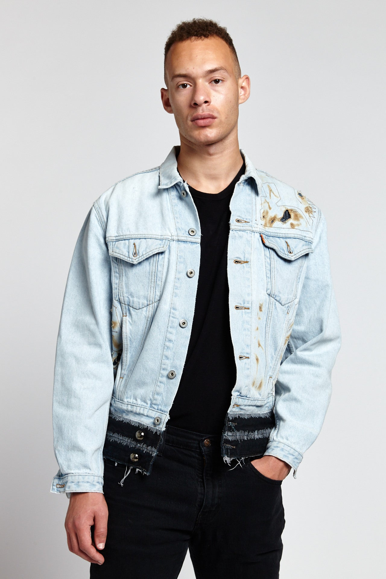 FIRE LIGHT BLUE COTTON LARGE DENIM JACKET-JACKETS-Mundane Official-L-Mundane Official