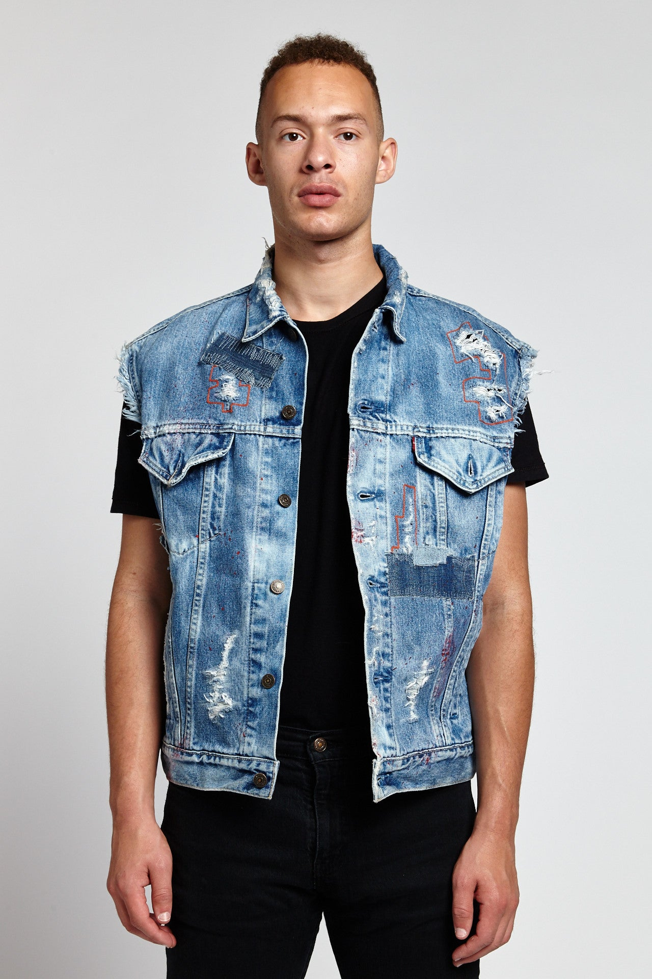 LETTERING SLEEVELESS COTTON BLUE XL DENIM VEST-JACKETS-Mundane Official-XL-BLUE-Mundane Official