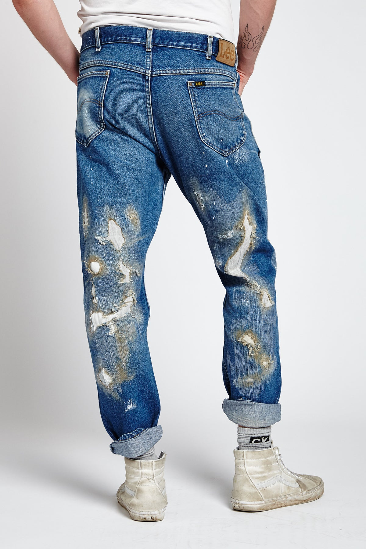 MILLIE RIGHE DISTRESSED COTTON BLUE 38 W JEANS-BOTTOMS-Mundane Official-38-BLUE-Mundane Official