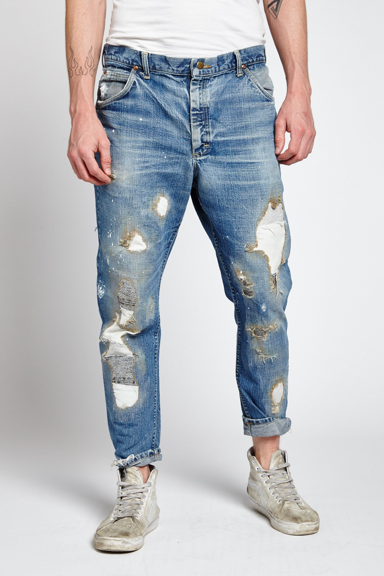 MILLIE RIGHE DISTRESSED COTTON BLUE 40 W JEANS-BOTTOMS-Mundane Official-40-BLUE-Mundane Official