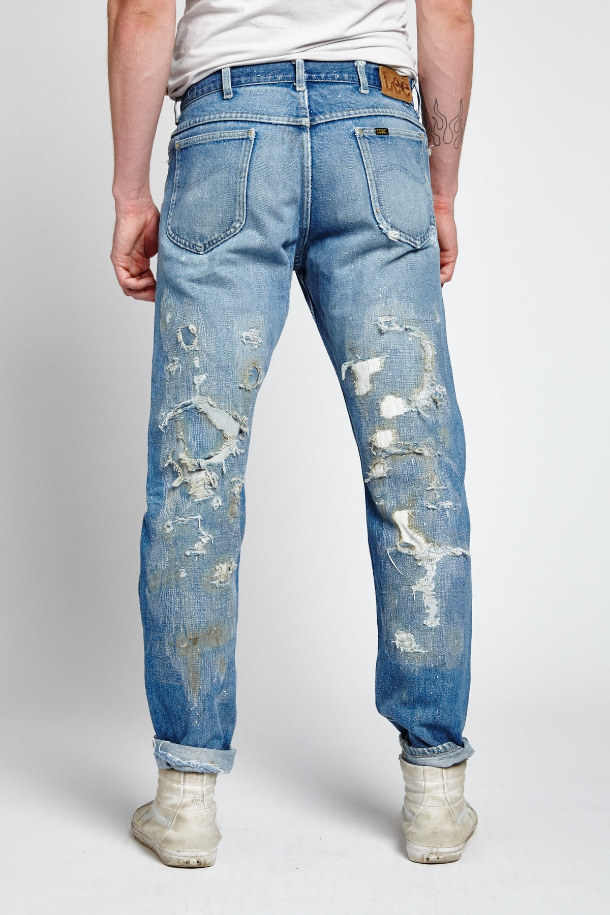MILLIE RIGHE DISTRESSED COTTON BLUE 34 W JEANS-BOTTOMS-Mundane Official-34-BLUE-Mundane Official
