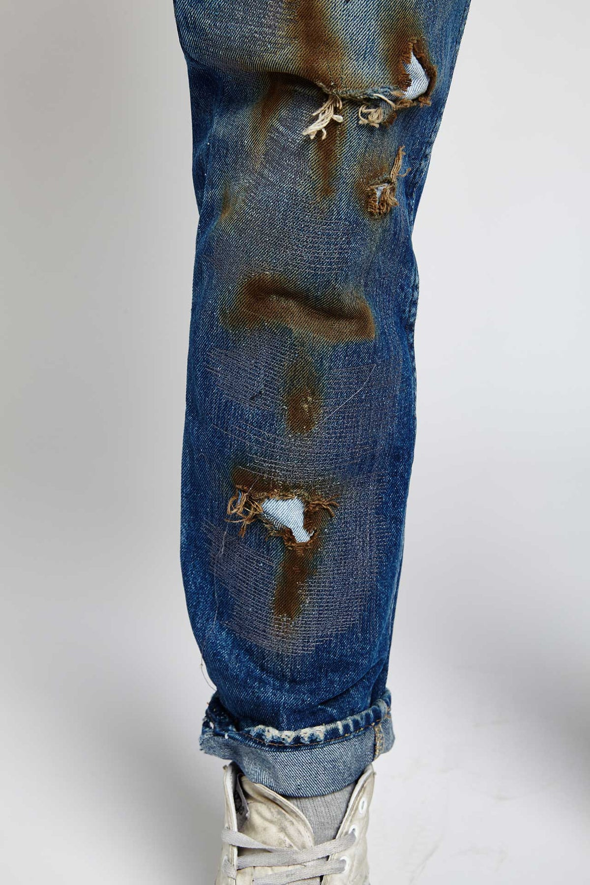 MILLIE RIGHE DISTRESSED COTTON BLUE 36 W JEANS-BOTTOMS-Mundane Official-36-BLUE-Mundane Official