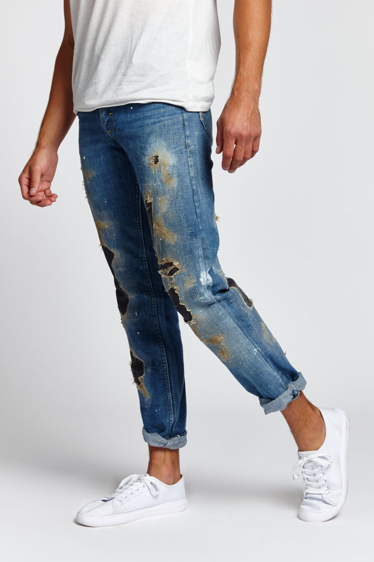 MILLIE RIGHE DISTRESSED COTTON BLUE 29 W JEANS-BOTTOMS-Mundane Official-29-BLUE-Mundane Official
