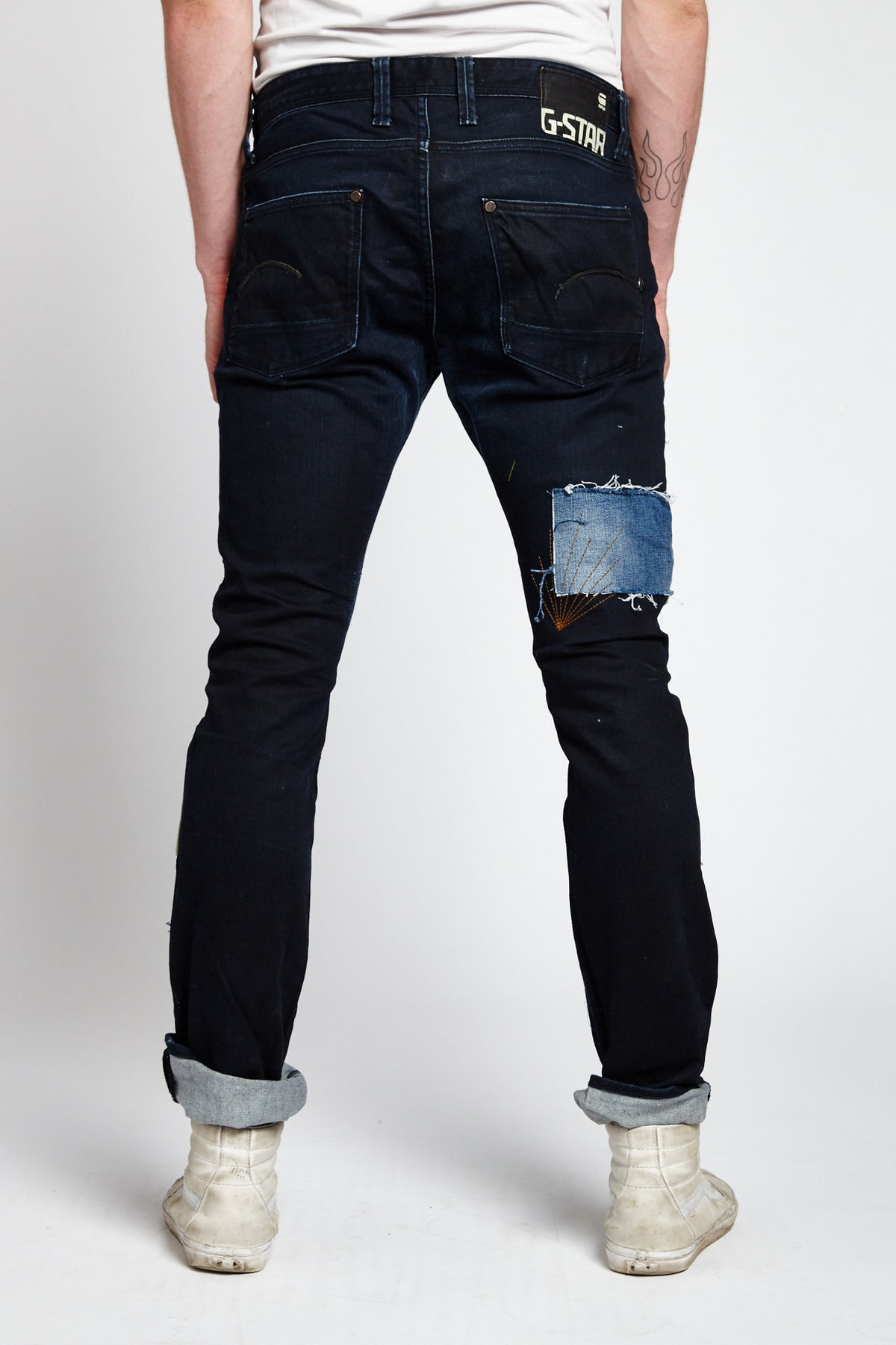 G-STAR RAW RECONSTRUCTED PATCHWORK COTTON BLACK 34 W JEANS-BOTTOMS-Mundane Official-34-BLACK-Mundane Official