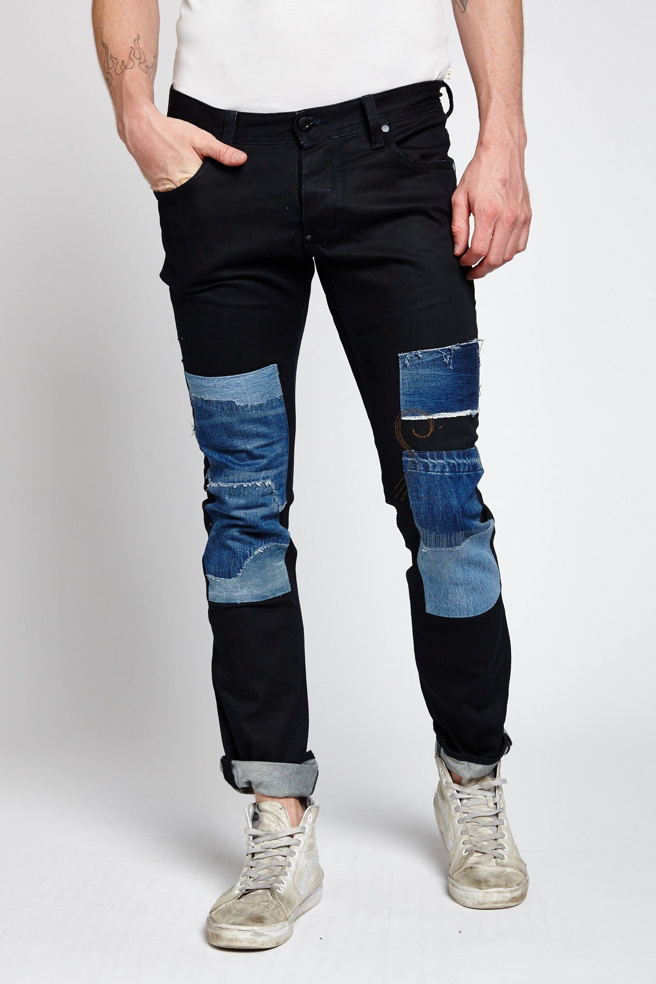 G-STAR RAW RECONSTRUCTED PATCHWORK COTTON BLACK 36 W JEANS-BOTTOMS-Mundane Official-36-BLACK-Mundane Official