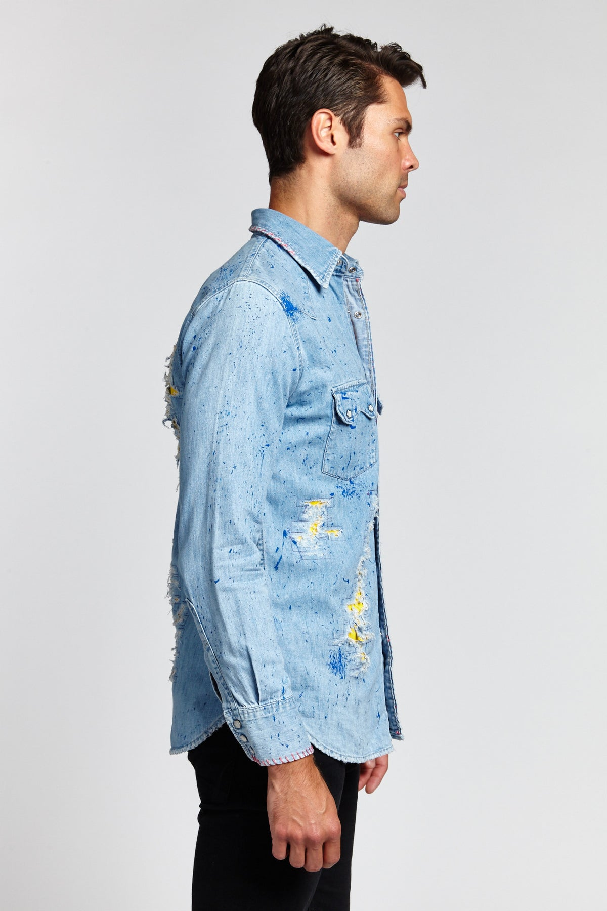 FADED DENIM BLUE LONG SLEEVE MEDIUM BUTTON UP (ONE OF A KIND)-SHIRTS-Mundane Official-S-Mundane Official