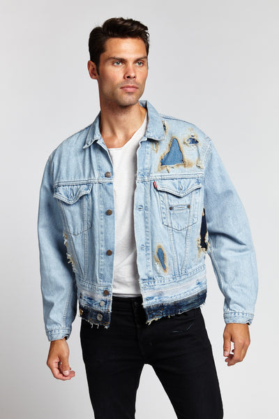FIRE FADED BLUE COTTON LARGE DENIM JACKET-JACKETS-Mundane Official-L-Mundane Official