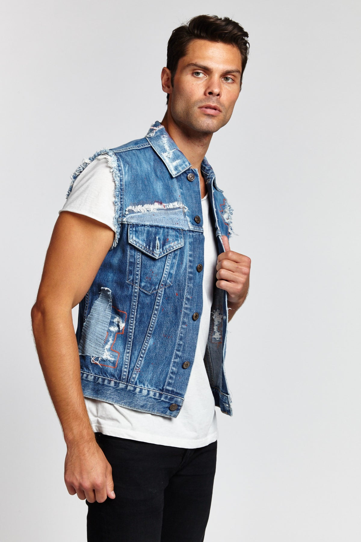 LETTERING SLEEVELESS COTTON DARK BLUE MEDIUM DENIM VEST-JACKETS-Mundane Official-M-DARK BLUE-Mundane Official