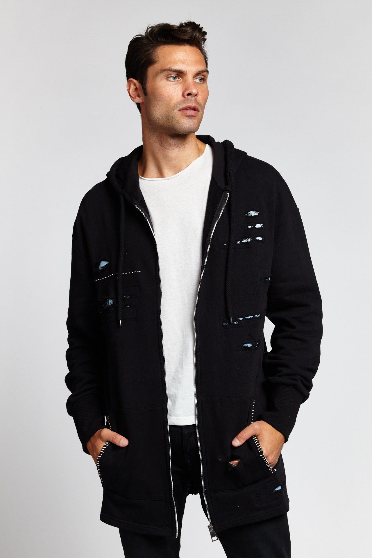 DARK BLACK COTTON DISTRESSED ZIP UP HOODIE-JACKETS-Mundane Official-S-BLACK-Mundane Official
