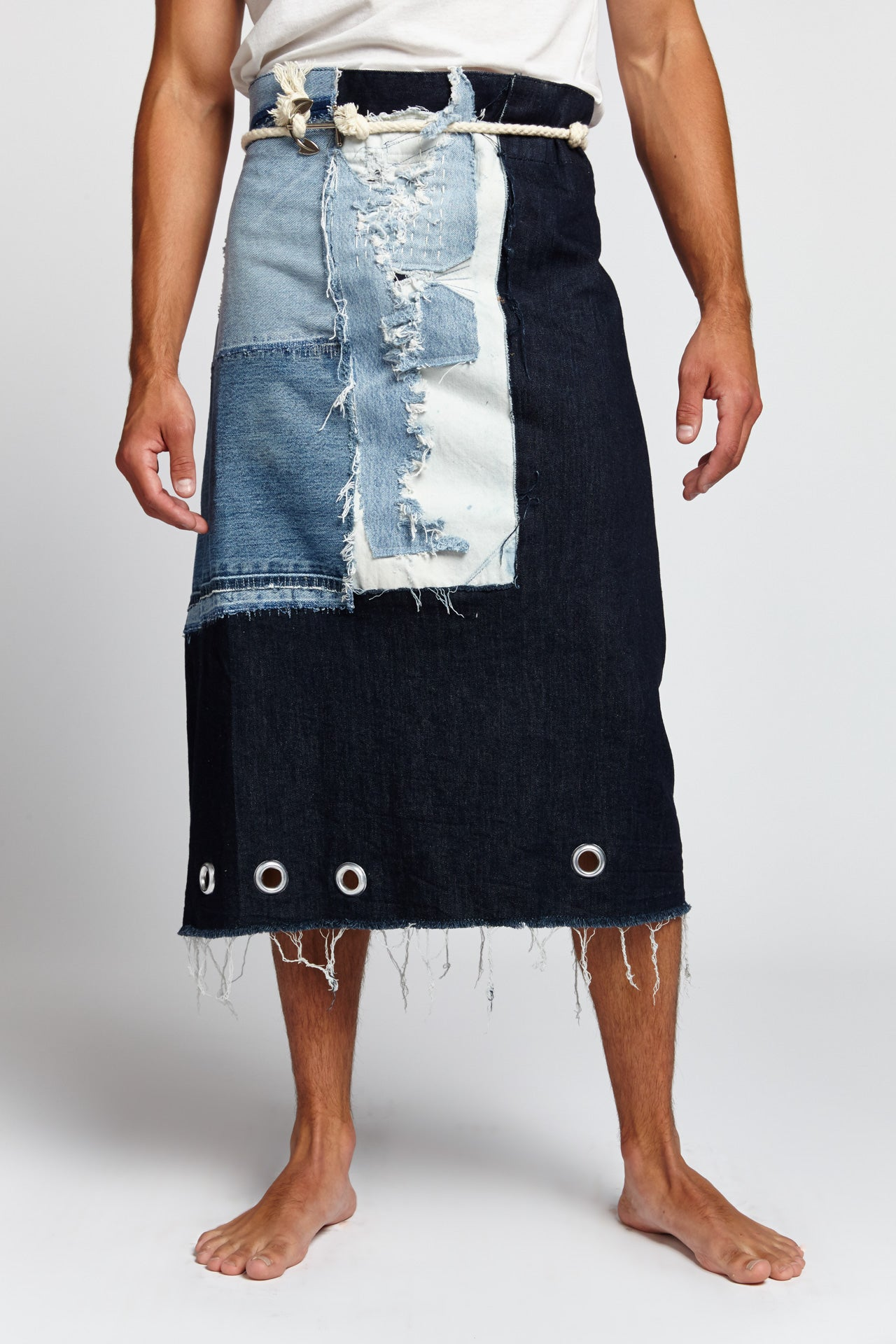DENIM PATCHWORK COTTON BLUE 48 W MAN GOWN (Made to Order)-BOTTOMS-Mundane Official-48-DARK BLUE-Mundane Official