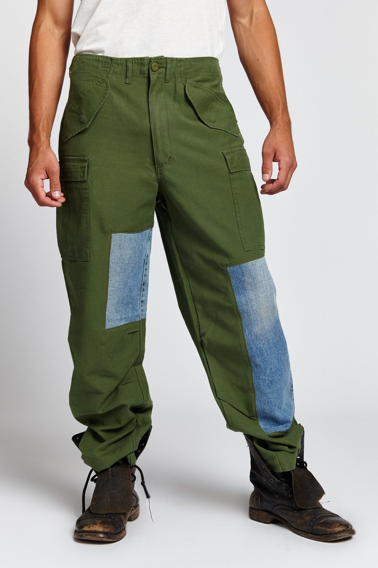 GREEN PATCHWORK CARGO CHINOS COTTON 34 W PANTS (Made to Order)-BOTTOMS-Mundane Official-34-GREEN-Mundane Official