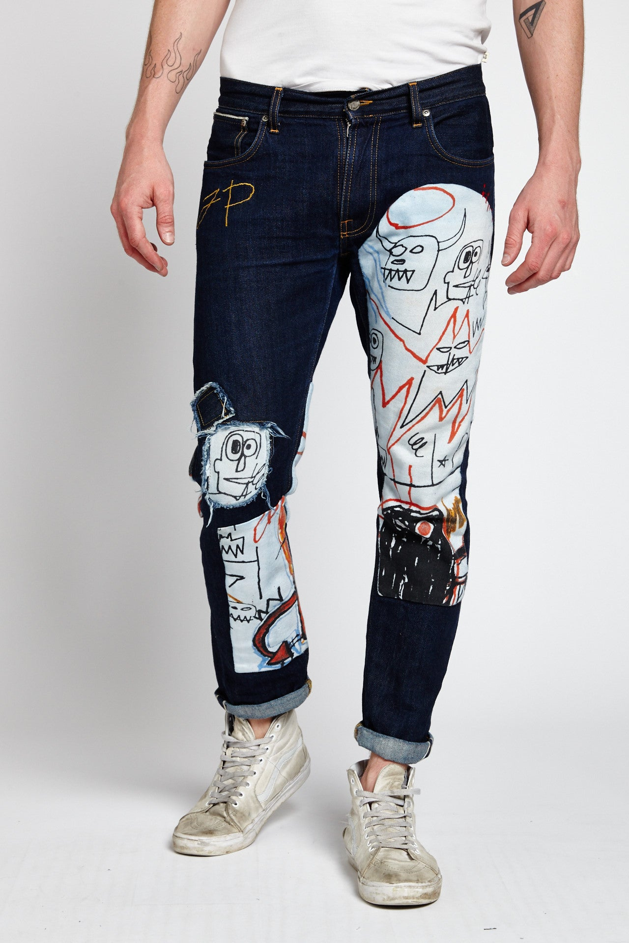RECONSTRUCTED BASQUIAT DENIM JEANS IN DARK BLUE  (Made To Order Only)