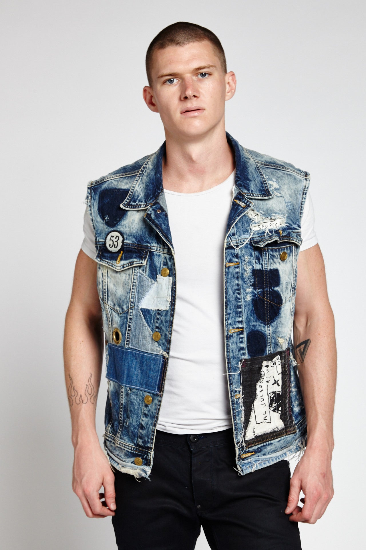 PERSONAL HARDWARE SLEEVELESS DENIM VEST IN MEDIUM BLUE (Made to Order Only)