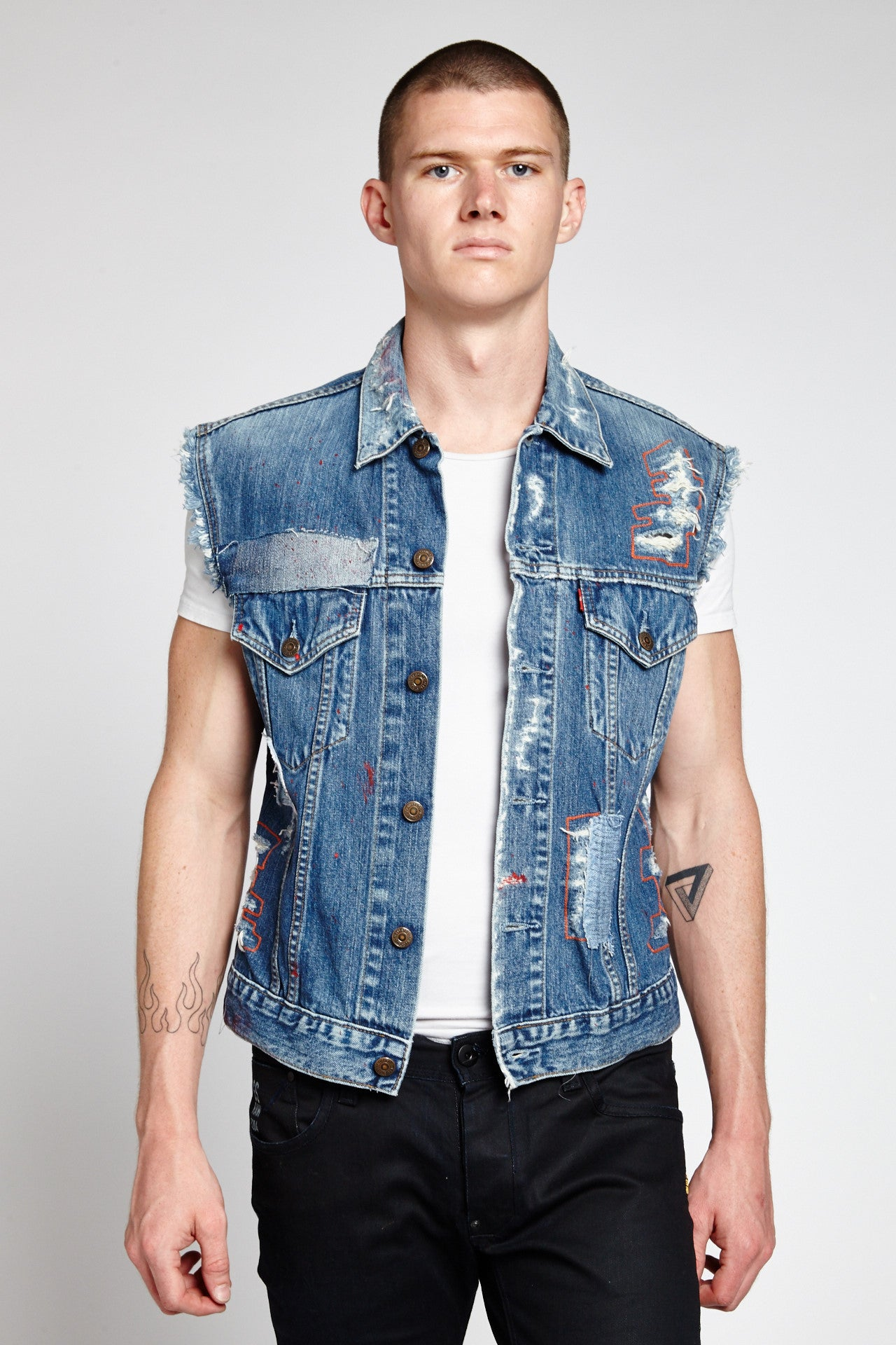 LETTERING SLEEVELESS COTTON FADED BLUE LARGE DENIM VEST-JACKETS-Mundane Official-L-FADED BLUE-Mundane Official