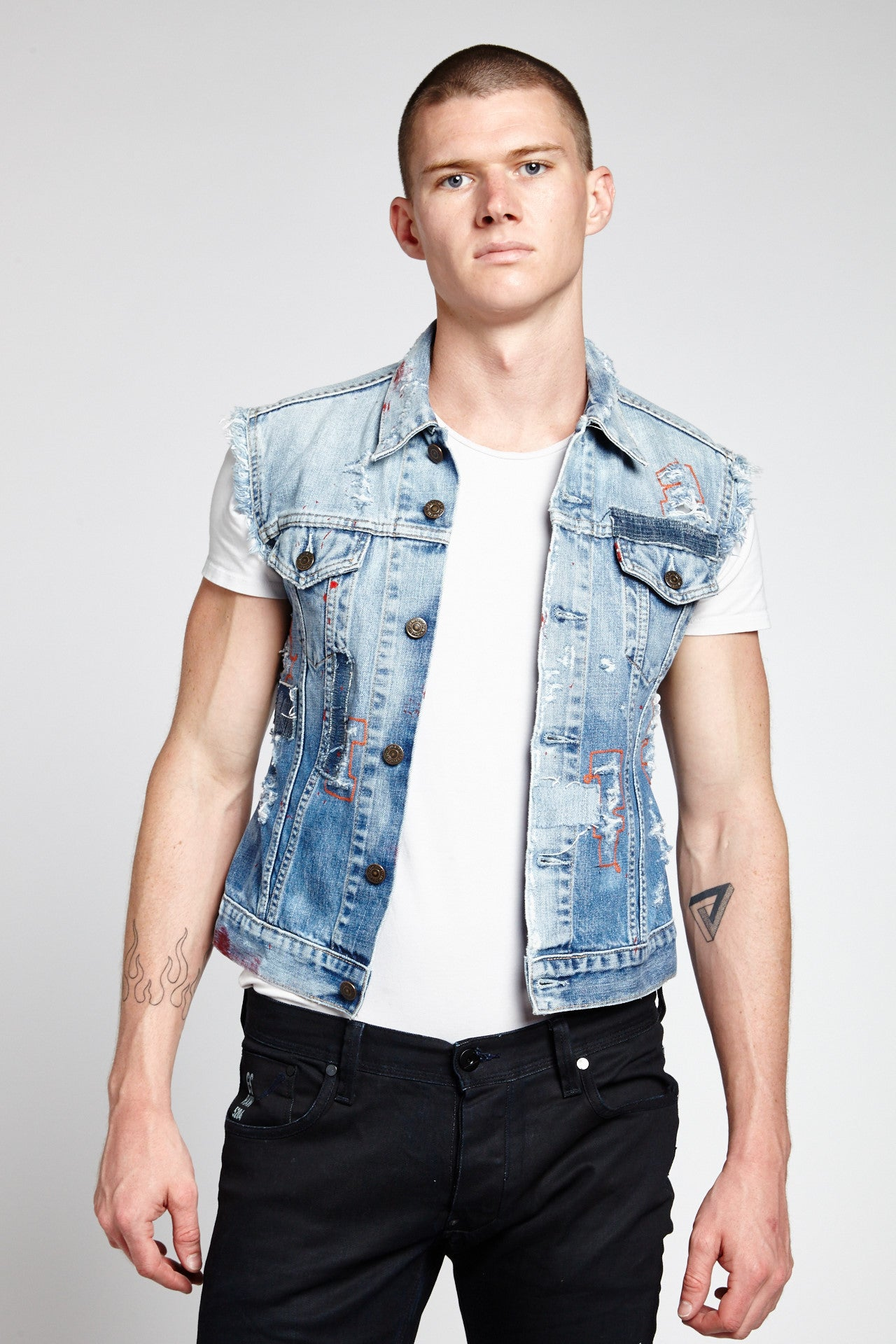 LETTERING SLEEVELESS COTTON LIGHT BLUE SMALL DENIM VEST-JACKETS-Mundane Official-S-LIGHT BLUE-Mundane Official