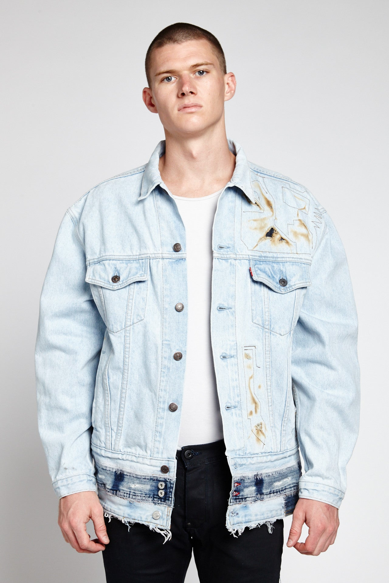 FIRE EXTRA FADED BLUE COTTON XL DENIM JACKET-JACKETS-Mundane Official-XL-Mundane Official