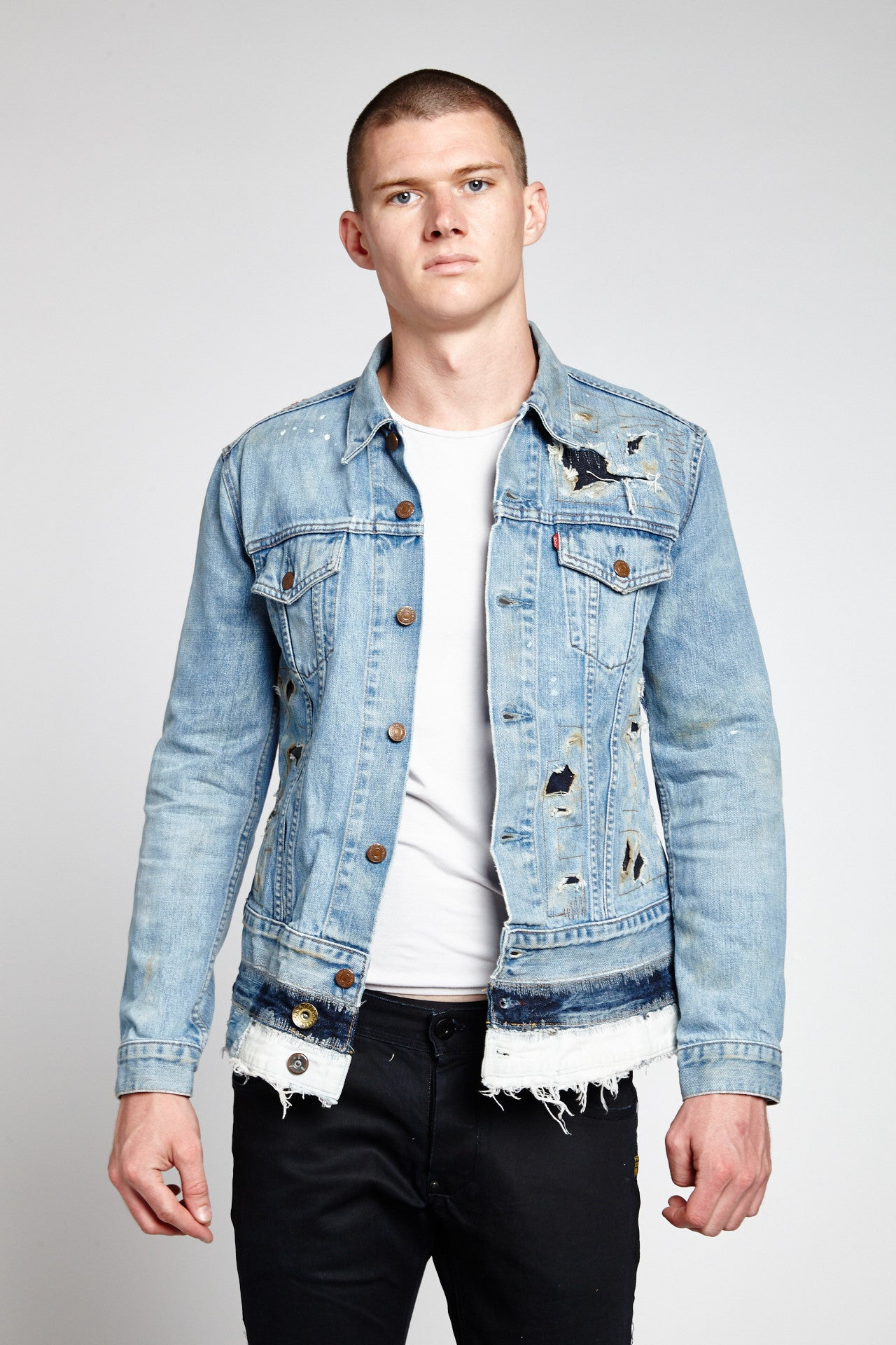 FIRE FADED BLUE COTTON MEDIUM DENIM JACKET-JACKETS-Mundane Official-L-Mundane Official