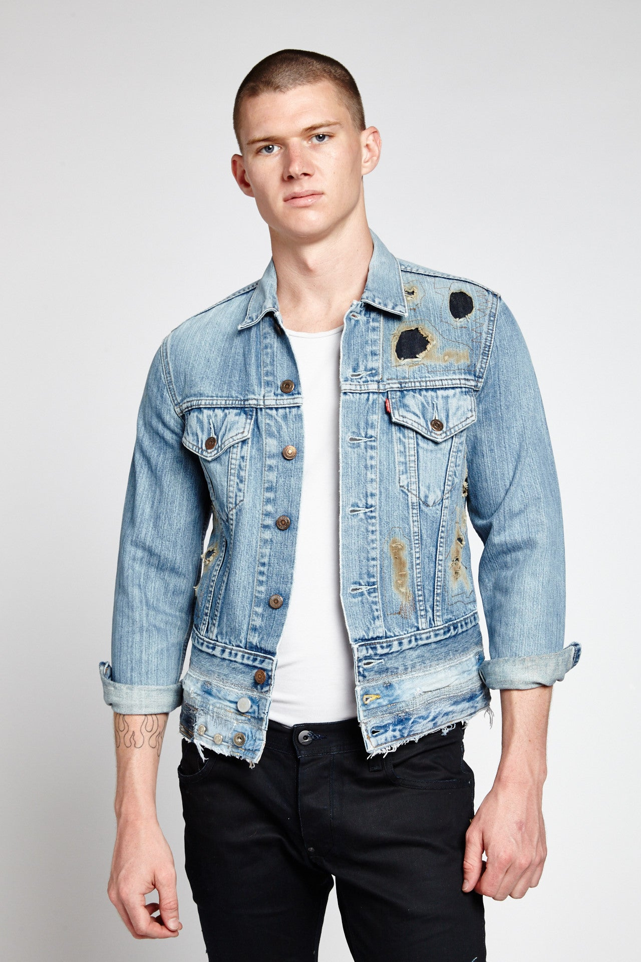 FIRE FADED BLUE COTTON SMALL DENIM JACKET-JACKETS-Mundane Official-S-Mundane Official