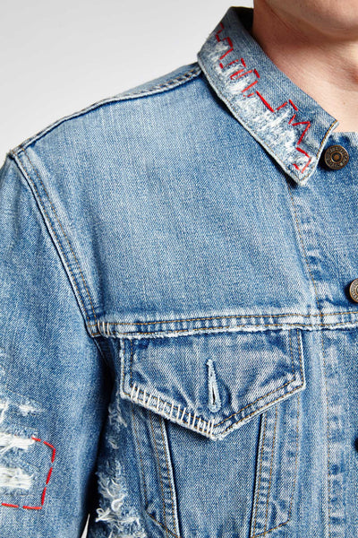 STRAPPO BLUE DENIM MEDIUM DISTRESSED JACKET (M)-JACKETS-Mundane Official-S-Mundane Official