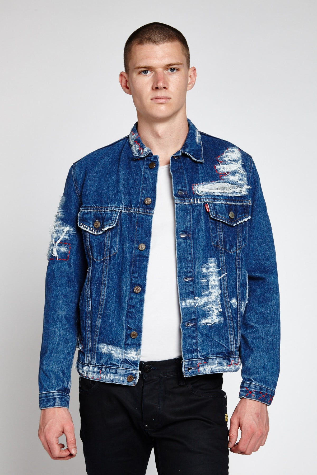 STRAPPO DARK BLUE DENIM LARGE DISTRESSED JACKET (L)-JACKETS-Mundane Official-L-Mundane Official
