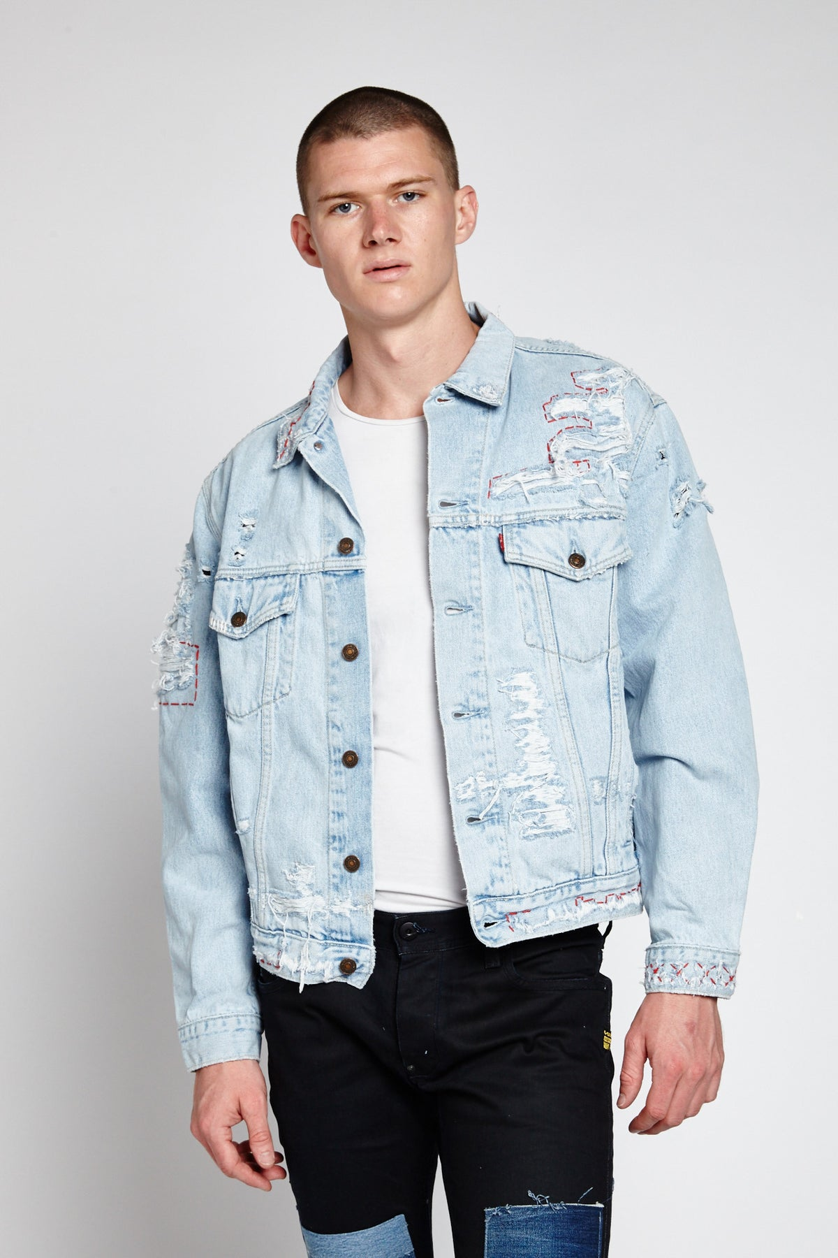 STRAPPO LIGHT BLUE DENIM XL DISTRESSED JACKET (XL)-JACKETS-Mundane Official-XL-Mundane Official