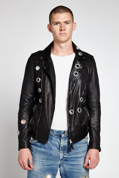 BORCHIA BLACK LEATHER EYELET HARDWARE BIKER JACKET-JACKETS-Mundane Official-M-Mundane Official