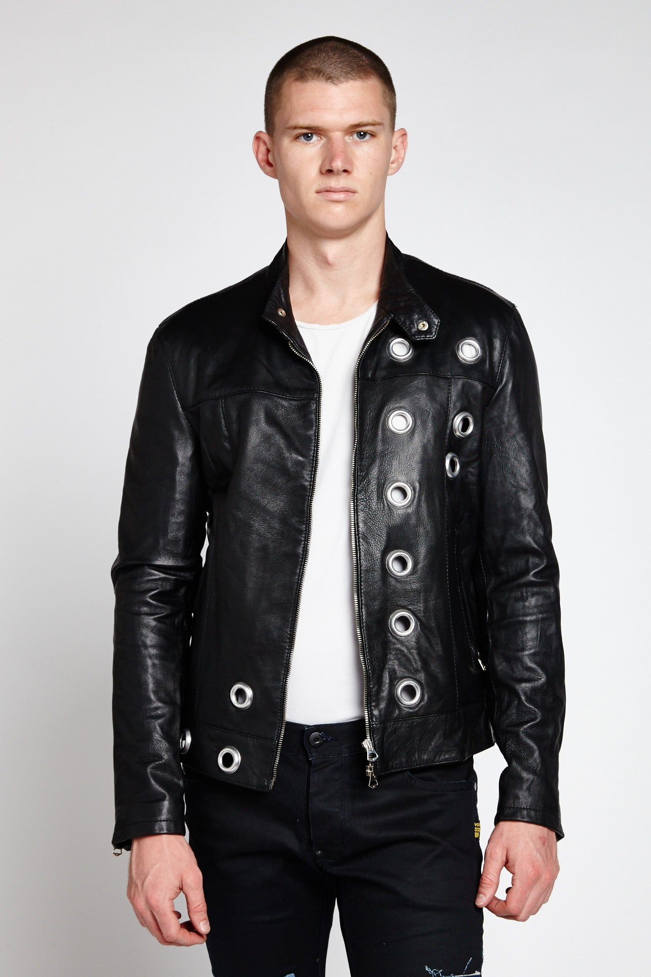 BORCHIA BLACK LEATHER RACER EYELET BIKER JACKET-JACKETS-Mundane Official-L-Mundane Official