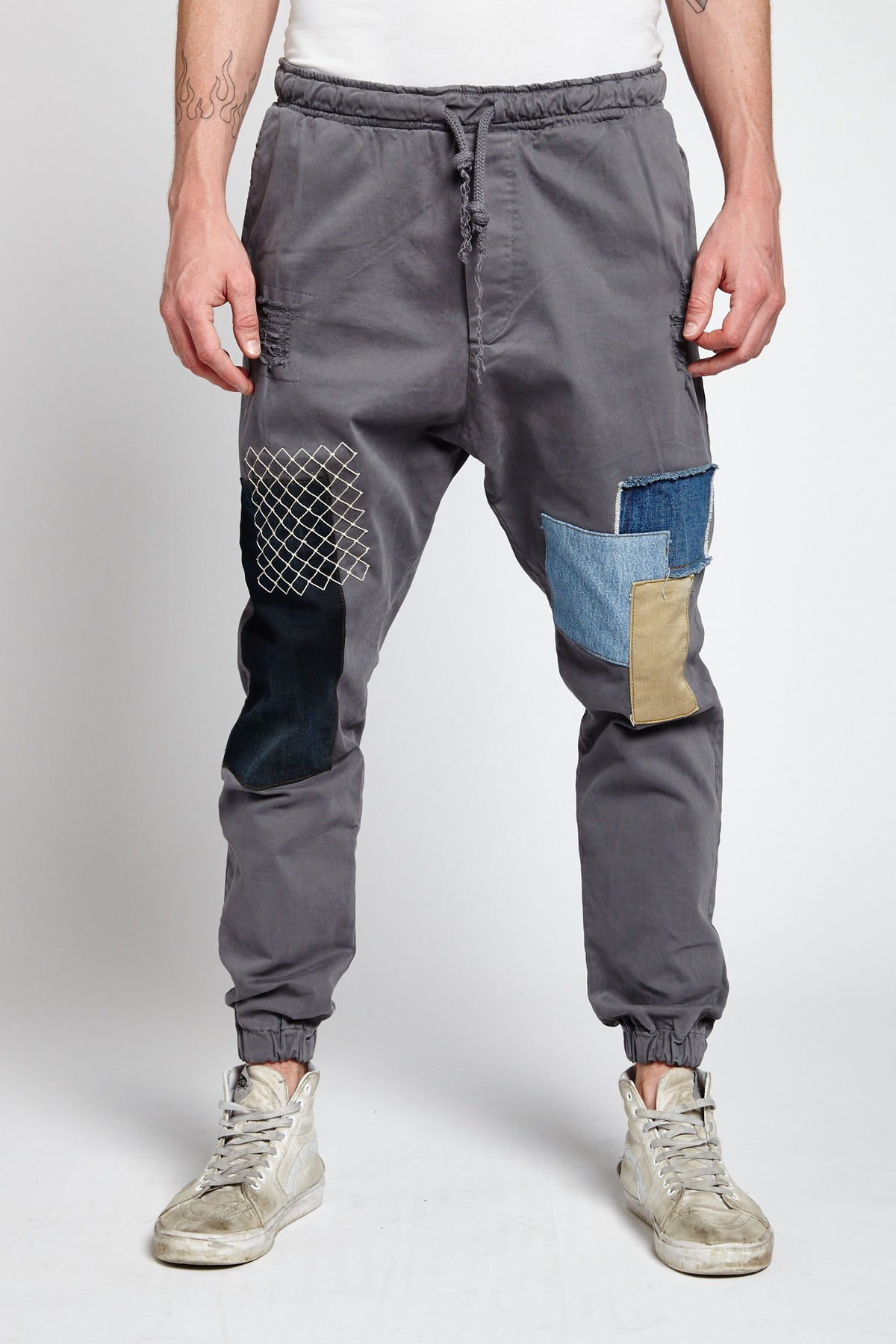 RETE GREY COTTON SMALL JOGGER PANTS-BOTTOMS-Mundane Official-29-GRAY-Mundane Official