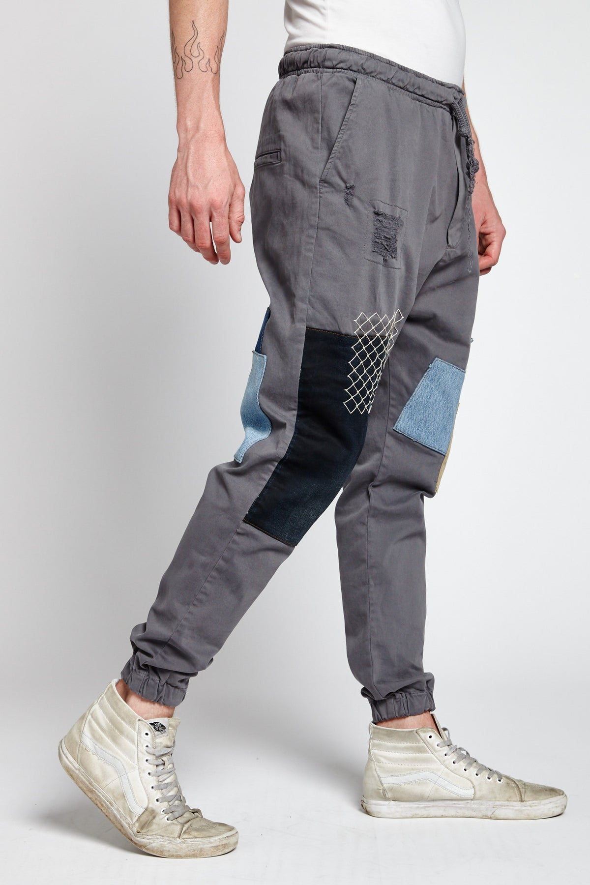 RETE GREY COTTON XL JOGGER PANTS-BOTTOMS-Mundane Official-XL-GRAY-Mundane Official