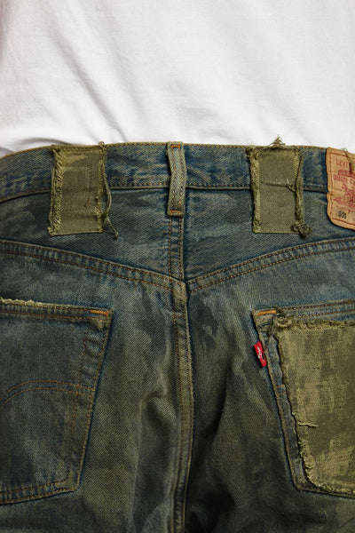 TOSSICO DISTRESSED COTTON BLUE GREEN 38 W JEANS-BOTTOMS-Mundane Official-38-BLUE/GREEN-Mundane Official