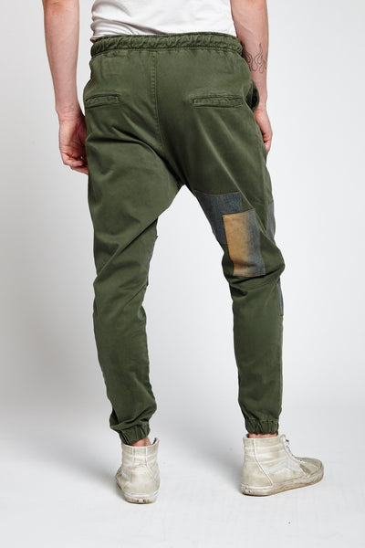 RETE GREEN COTTON LARGE JOGGER PANTS-BOTTOMS-Mundane Official-32-GREEN-Mundane Official