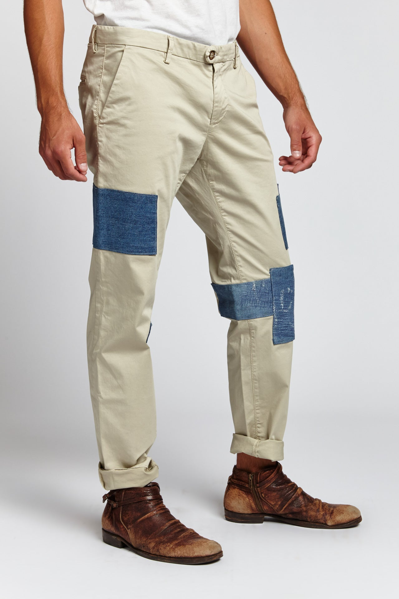 KHAKI PATCHWORK CARGO CHINOS 34 W (Made to Order)-BOTTOMS-Mundane Official-36-BROWN-Mundane Official